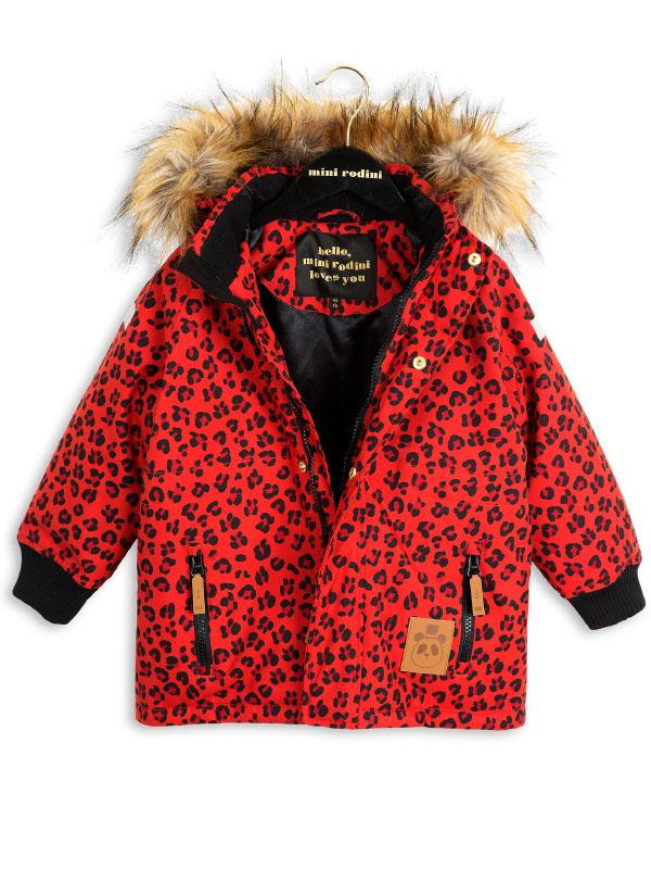 Mini Rodini Siberia Leopard Jacket Red Www Annibazaar Com